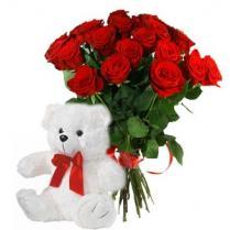 Букет роз с Медведем.
