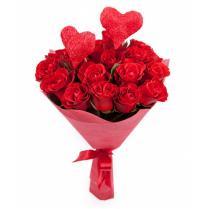 """Букет алых роз """"Два сердца"""""""