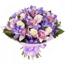 Букет из орхидеи, роз и ирисов