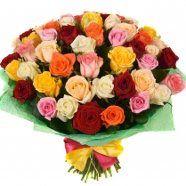 """Букет """"Конфетти""""из разноцветных роз (51 шт.)"""