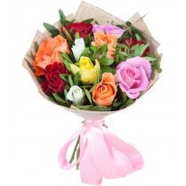 Букет из  разноцветных роз (11шт.).