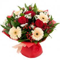 Букет из роз, гербер, альстромерии