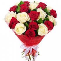Букет из белых и красных роз (23 шт.)