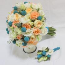 Букет невесты оранжево-голубой